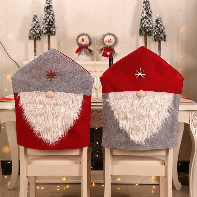 Copertura della sedia di Natale Babbo Natale sedia cover posteriore Dinner Chair Cap Imposta natale di Natale decorazioni per la casa del partito