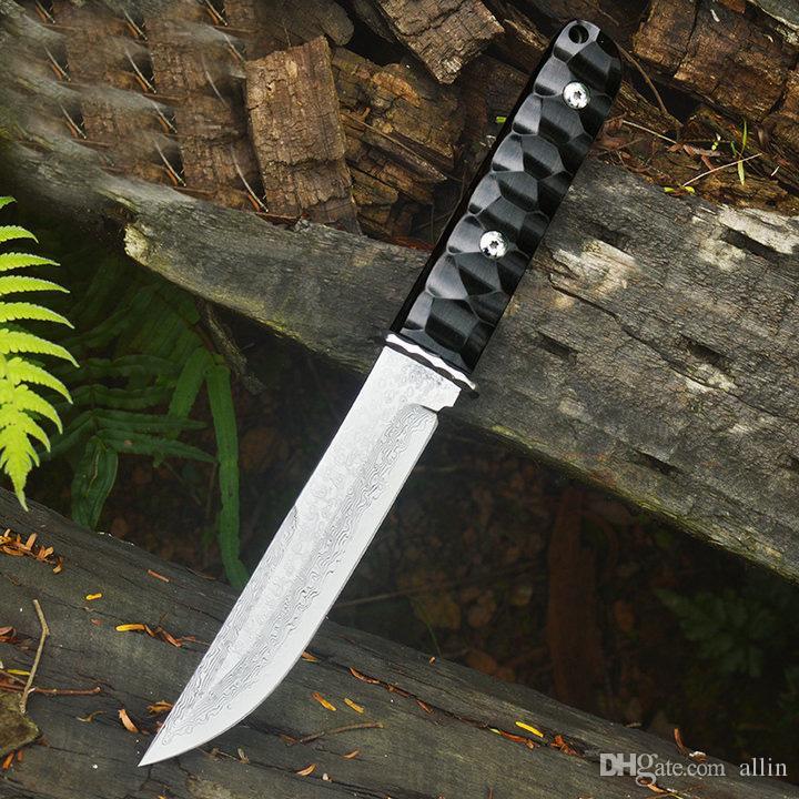 Быстрая доставка Дамаск Fixed клинка VG10 Булат каплепадения лезвие Полный Тан Ebony Ручка Плоские ножи с кожаной оболочкой