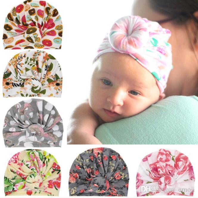 أحدث القبعات الطفل قبعات الطباعة مع عقدة ديكور أطفال بنات اكسسوارات للشعر العمامة عقدة رئيس يلتف الاطفال الأطفال الشتاء الربيع قبعة