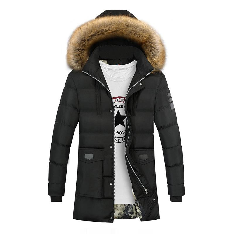Fashion-Thicken Warm Winter Duck Down Jacket for Men Fur Collar Parkas Hooded Coat Plus Size Overcoat Western Style