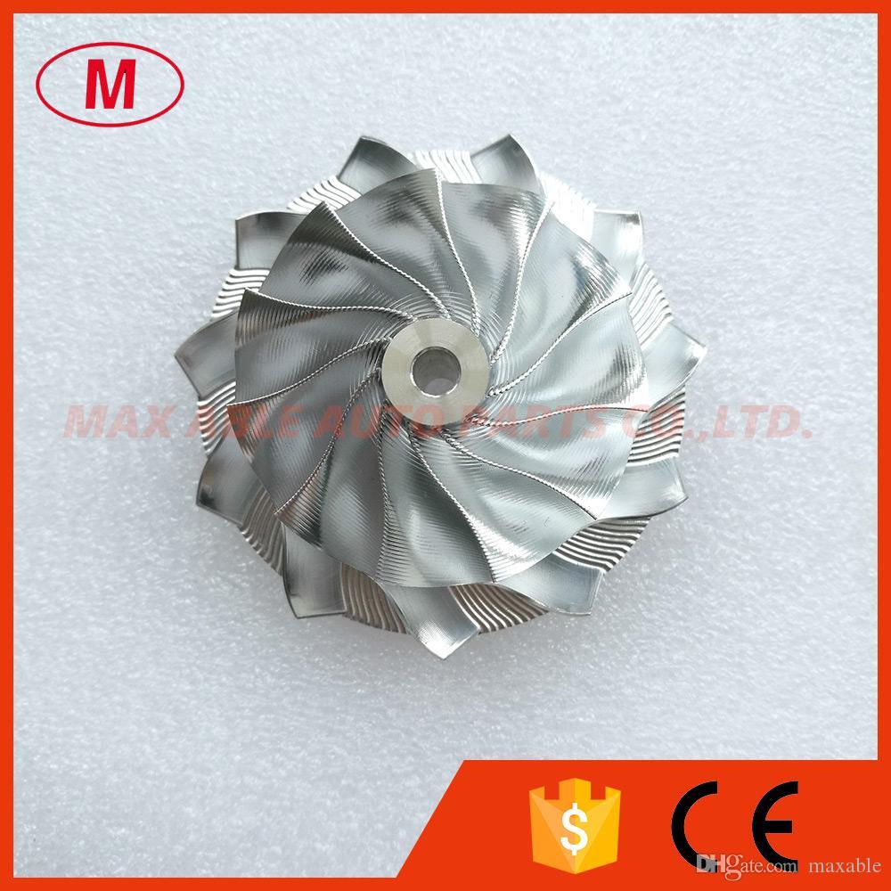 GT15-25 Turbocompresor de alto rendimiento Aluminio 2024 / Rueda del compresor de fresado de punto / Rueda del compresor de tocho 50.00 / 68.01mm 11 + 0 cuchillas