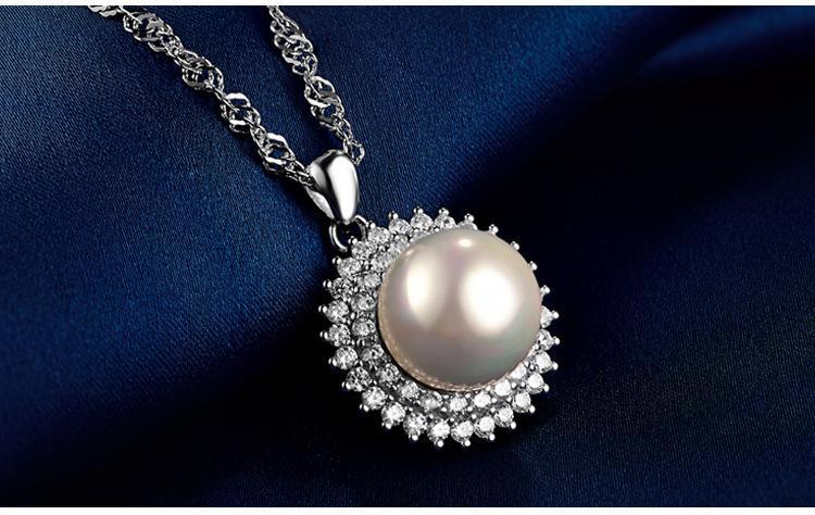presente do dia de alta qualidade S925 prata pérola dos Namorados Cubic Zirconia colares pingente de prata pérola CZ gargantilha colar de jóias DDS0047