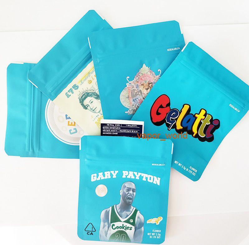 COOKIES Californie SF 8 3.5G Mylar 420 Emballage Sacs sécurité enfants Gelatti céréales Lait Gary Payton biscuits taille sac 3.5G-1/8 Sacs