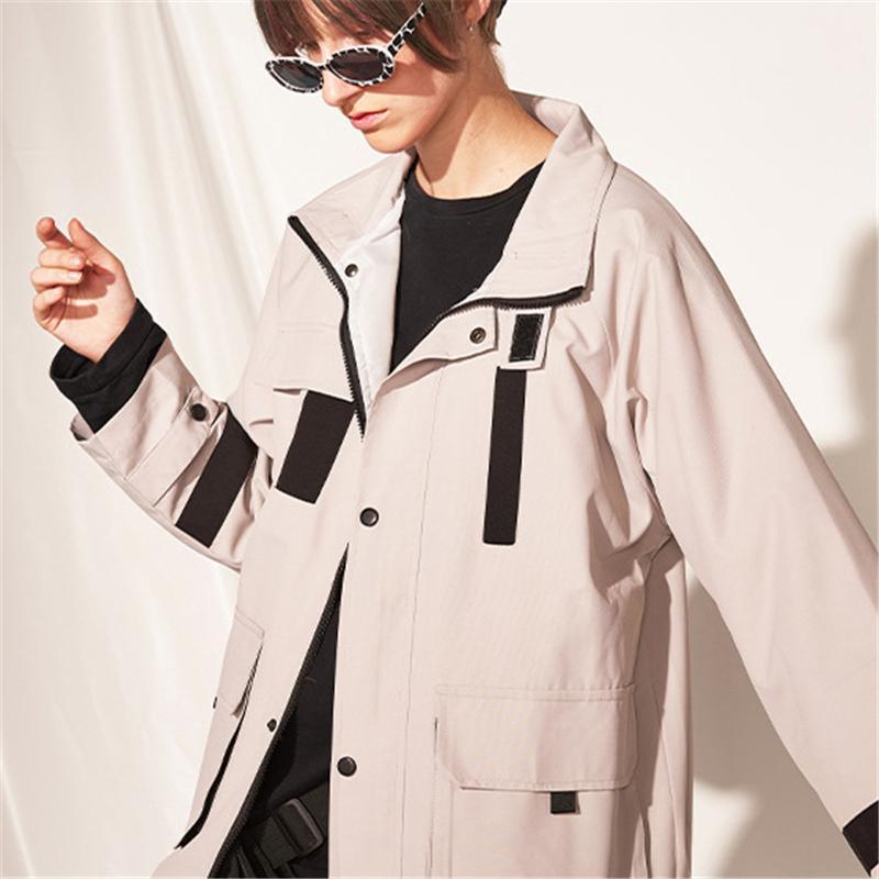Streetwear Kadın Erkek Tasarımcı Marka Windbreakers Moda Yaka Letter Ceket Gri Siyah Coats Kabanlar Üst Kalite B101774V Baskı Standı
