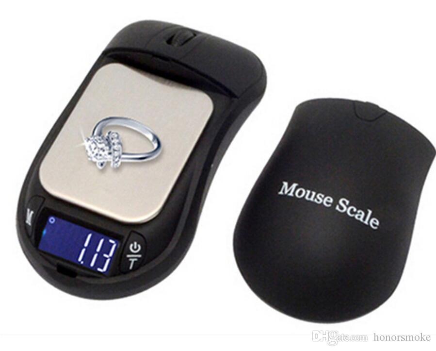 La forma del ratón Escalas de la cocina 200g 0.01g 500g / 0.1g joyería digital portátil Escala Coches Clave de diamante del quilate Lab 0,01 gramos de precisión