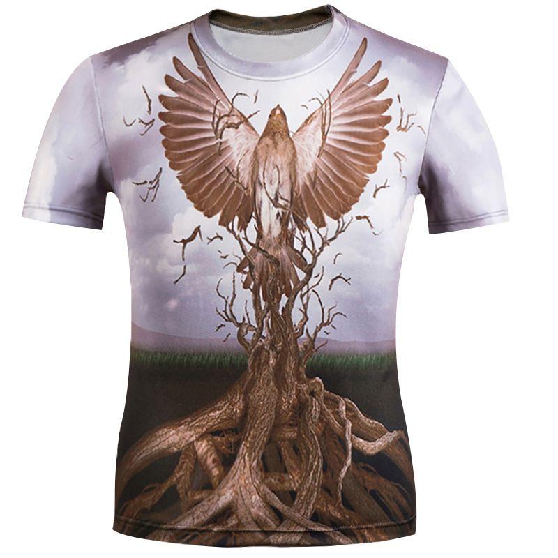 2019 BIAN YI LARGA camiseta de moda masculina Estampado de raíces estampado de águila Hipster divertida camiseta de hombre Verano Casual streetT-shirt Hombre tops