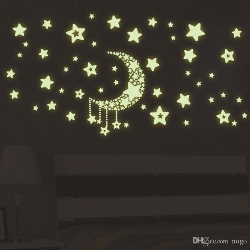 DIY Sky Moon Star Saturn Autocollants Lumineux Sticker Nuit Lumière Motif Papier Peint Pour Enfants Chambre Décor À La Maison
