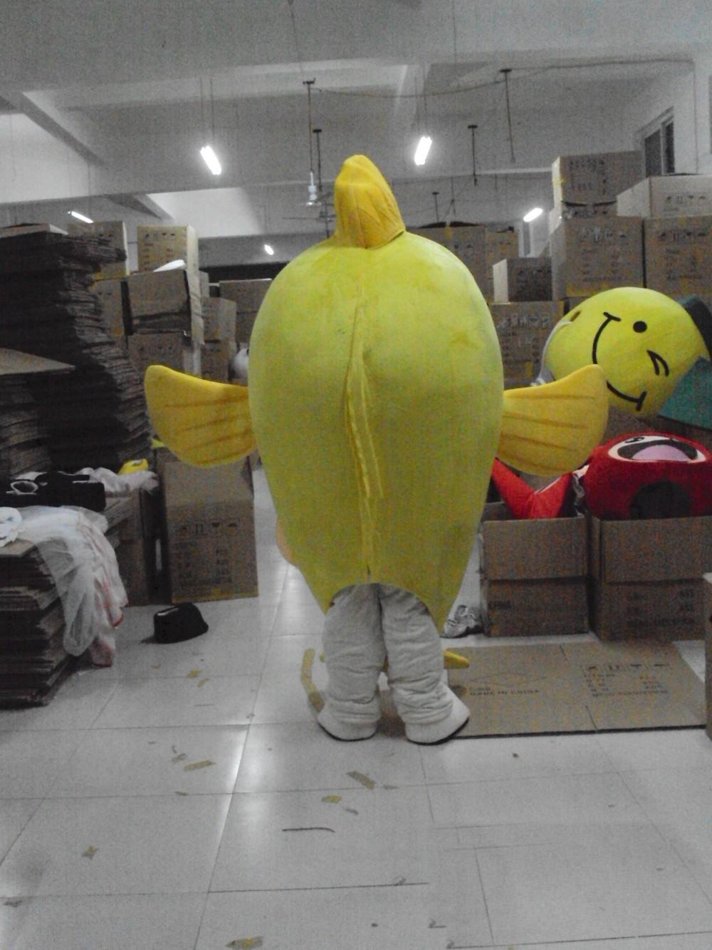 Wholesale-High quality hot Yellow fish Mascot Costume Adult Character Costume mascot As fashion free shipping