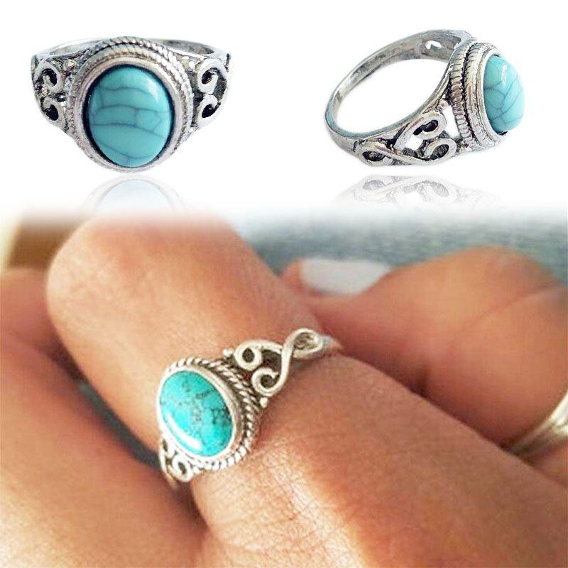 2018 nuova allergia libero 1PC Vintage pietra blu anello di fidanzamento di anniversario di nozze sposa gioielli monili delle donne della Boemia di modo