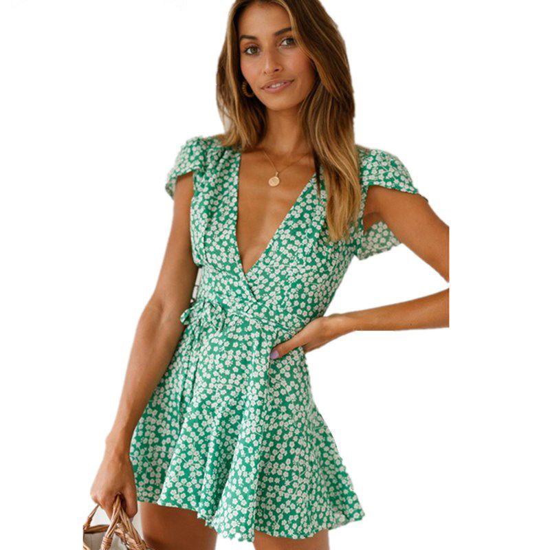 Ruffle Verde Imprimir Floral Praia Mini Vestido Casual manga curta Bandage Sexy Mulheres Boho Verão Vestidos Lace Up Mudança vestido curto