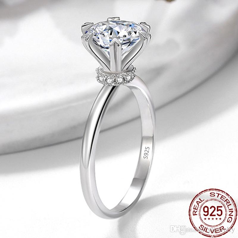 Solitaire Ring 925 Sterling Silver Bijou 2CT 8mm CZ Diamond Luxury Party Wedding Band Rings for Women Bridal Fine Jewelry XR417