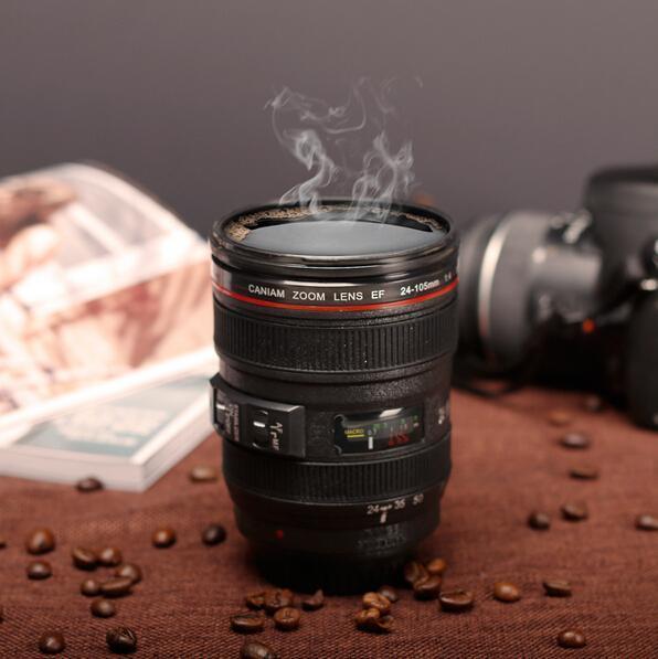 480ML dell'obiettivo della tazza di caffè dell'obiettivo della fotocamera di emulazione Mug Cup Beer Cup Coppa del vino senza coperchio nero Tazze di plastica