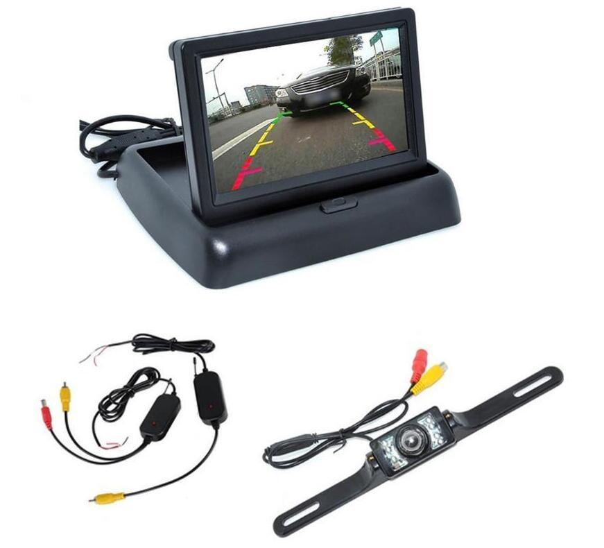 """2020 New Car Rear View Camera Set 4.3"""" TFT LCD Monitor Wireless Transmitter Receiver Backup Reverse Camera Parking System Night Vision"""