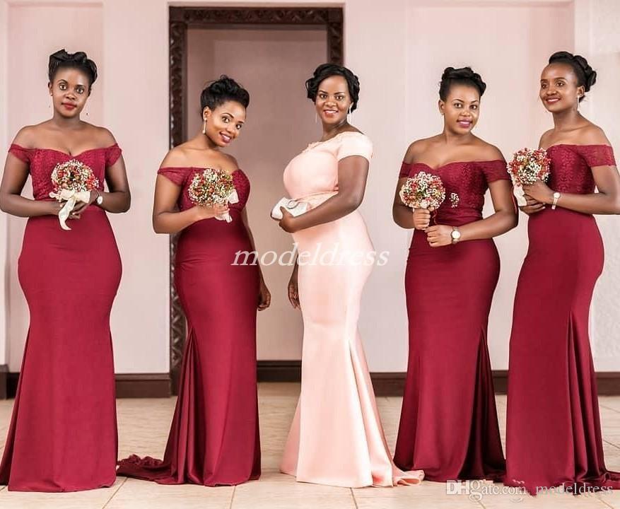 Black Girl Dark Red sirène demoiselle d'honneur robes 2019 épaule dentelle lac pays de jardin, plus la taille mariage robes de demoiselle d'honneur robe