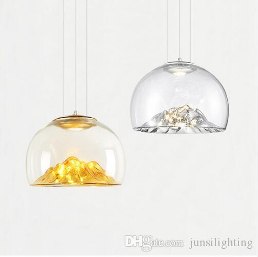 simple, moderne galvanoplastie verre doré unique lampe pendan design créatif montagne nordique un restaurant LED éclairage décoratif