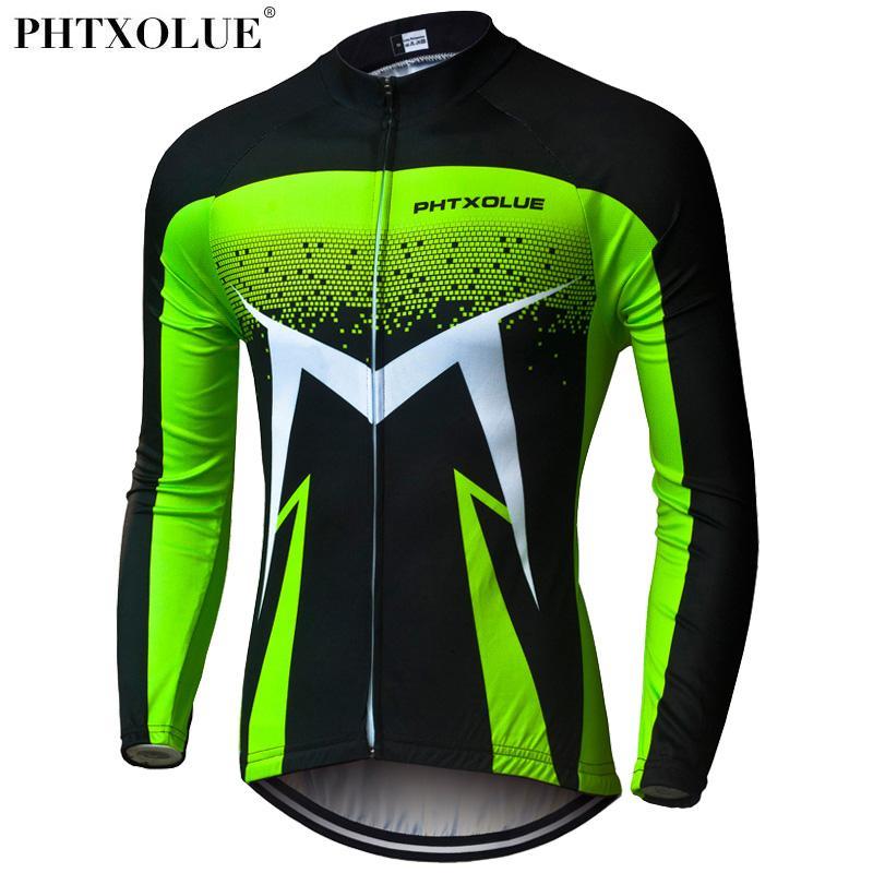 Phtxolue 긴 소매 사이클링 유니폼 녹색 통기성 MTB 자전거 의류 가을 자전거 의류 타이츠 로파 Ciclismo