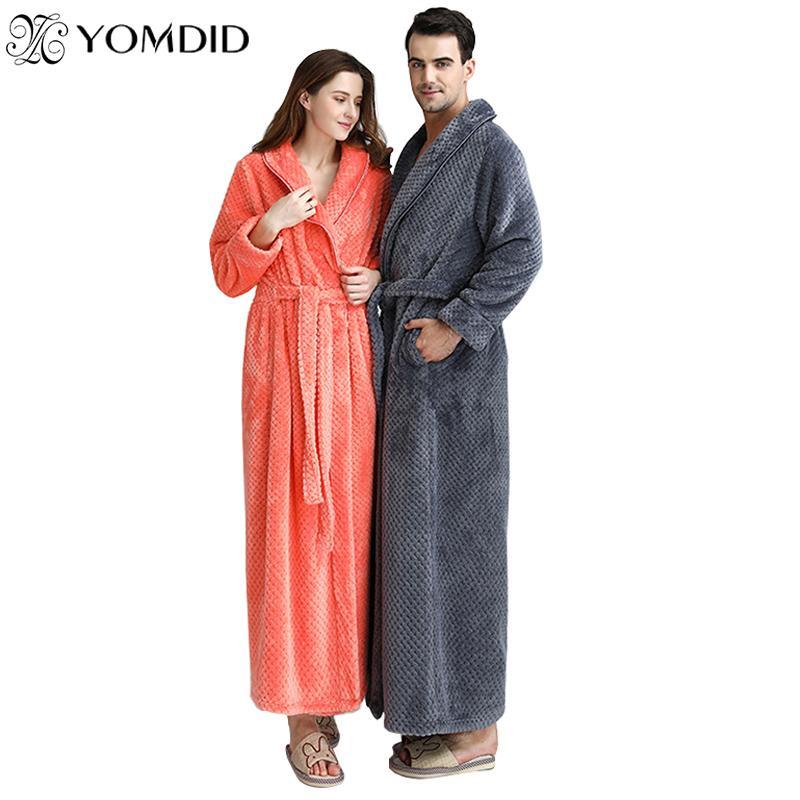 Men Women Long Bath Robe Bath Towel Bathrobe Coral Velvet Pajamas Body Spa Super Absorbent Home Decoration Solid Gown Towel