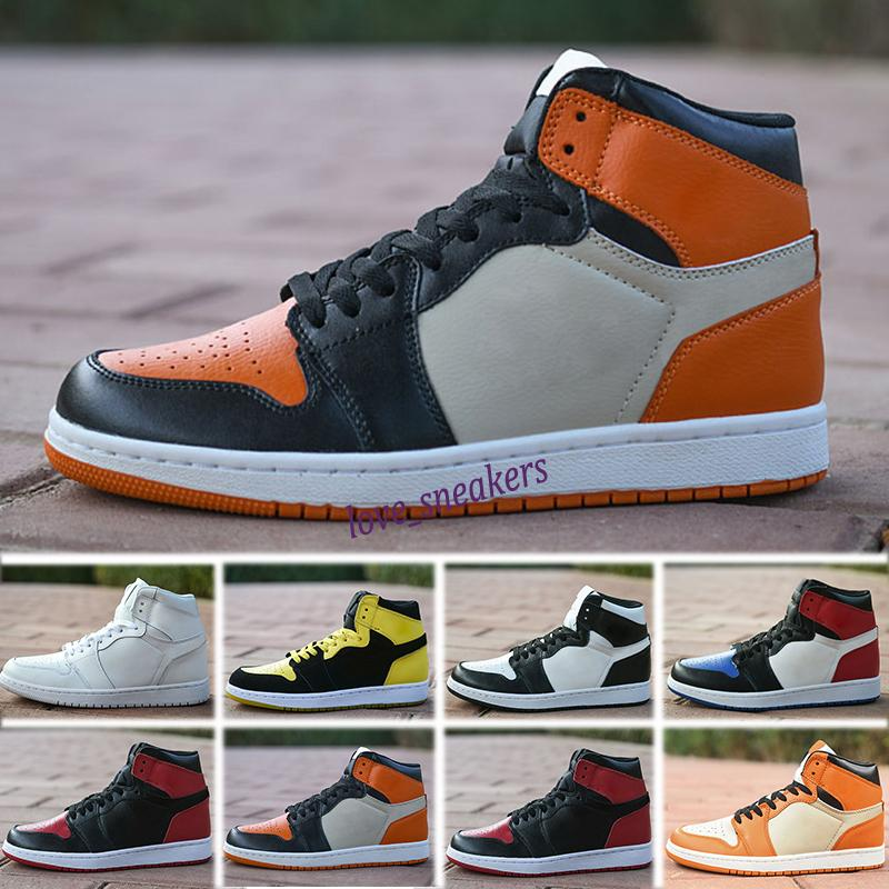Nike Air Jordan 1 AJ1 Retro homens sapatos 1s topo Obsidian UNC Destemido FANTASMA TURBO VERDE 1 Encosto FANTASMA GYM VERMELHO esporte sneaker tamanho trainer 5,5-12 L13