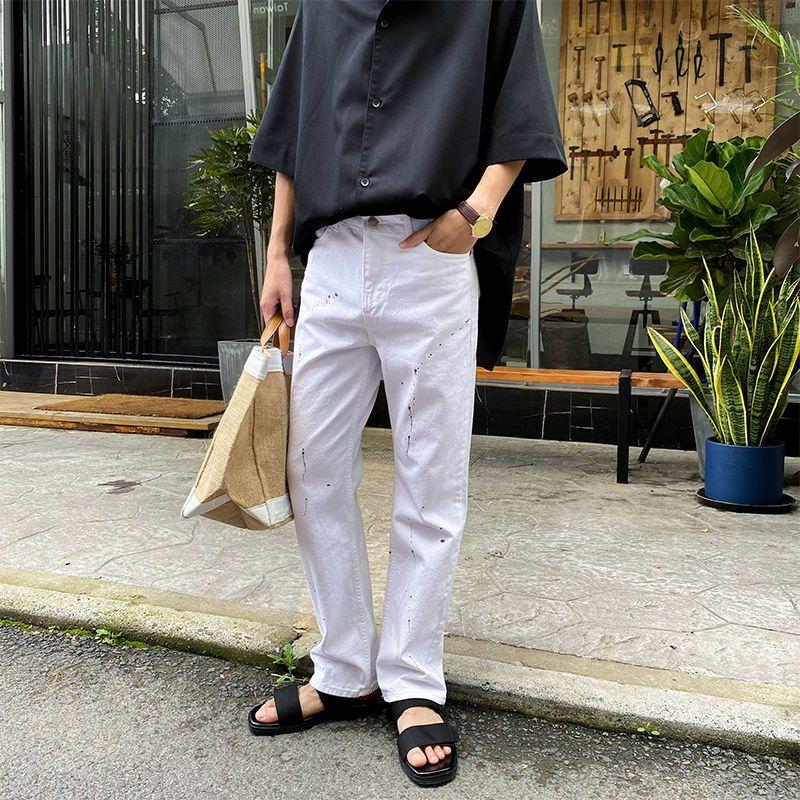 Korean Straight Jeans Men's Fashion Retro Ink White Jeans Pants Men Streetwear Wild Loose Hip Hop Denim Trousers Mens M-XL