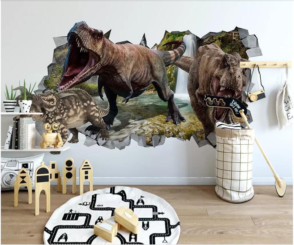 WDBH пользовательские фото 3d обои Разбитое Динозавр Детская комната ТВ фон гостиная декор дома 3d стены muals обои для стен 3 д