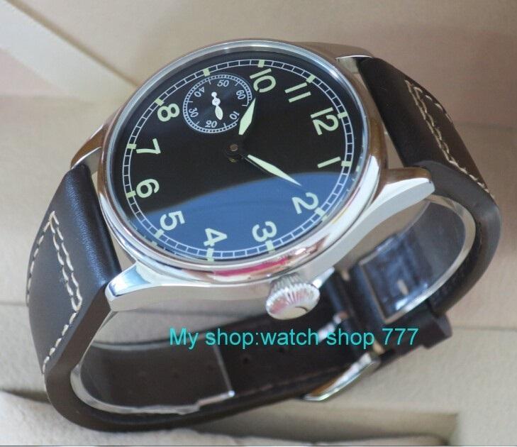 nouveau mode 44mm aucun logo pilote 6497 Mécanique Main Vent mouvement lumineux hommes de montre mécanique montres en gros x0001 Y200414