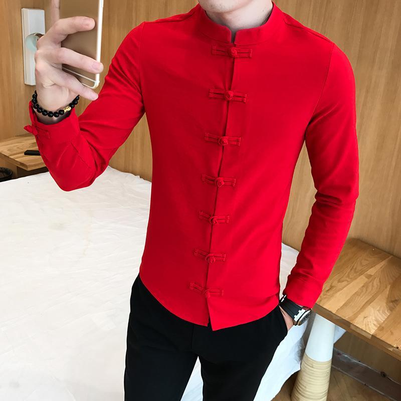 2020 가을 신상품 중국어 칼라 솔리드 셔츠 남성 만다린 칼라 셔츠 남성 긴 소매는 Camisa 사회 Masculina 9xl 스탠드