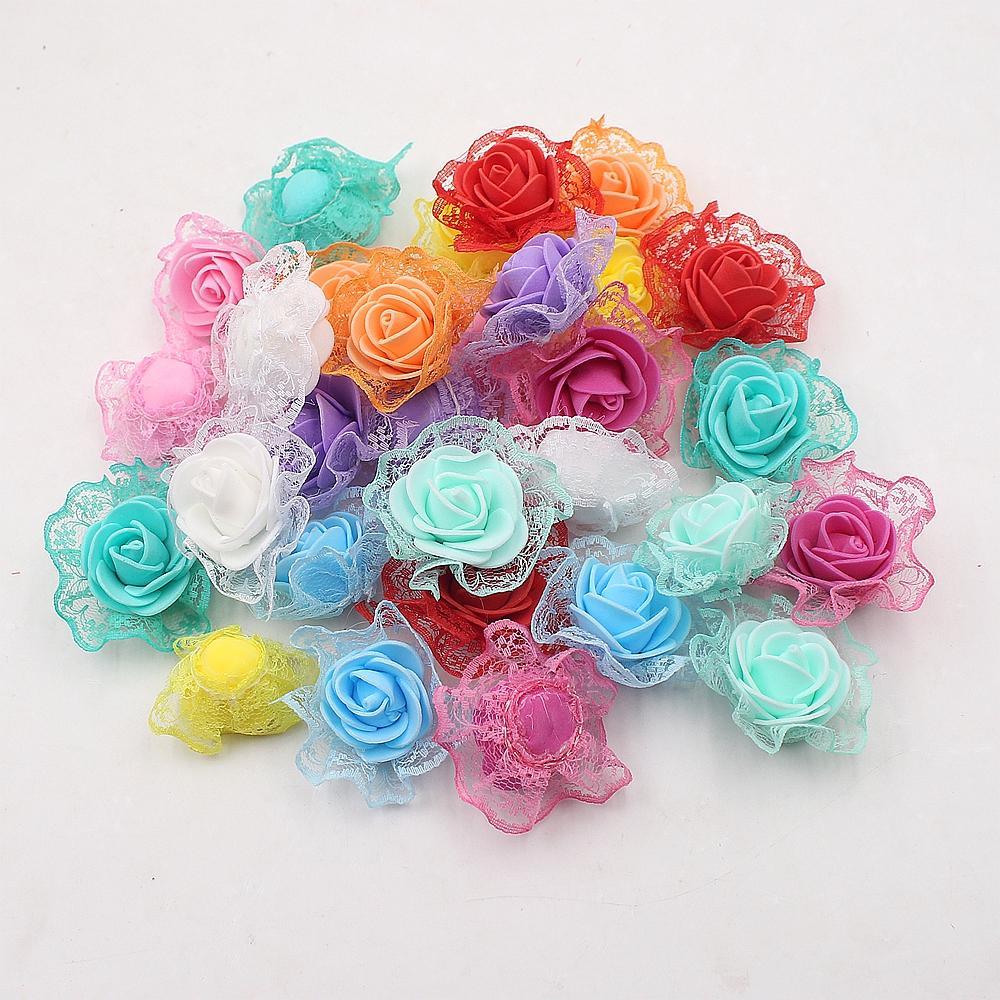 20 piezas flores artificiales 4,5 cm encaje inferior burbuja Rosa boda fiesta decoración del hogar DIY hecho a mano guirnalda caja de regalo