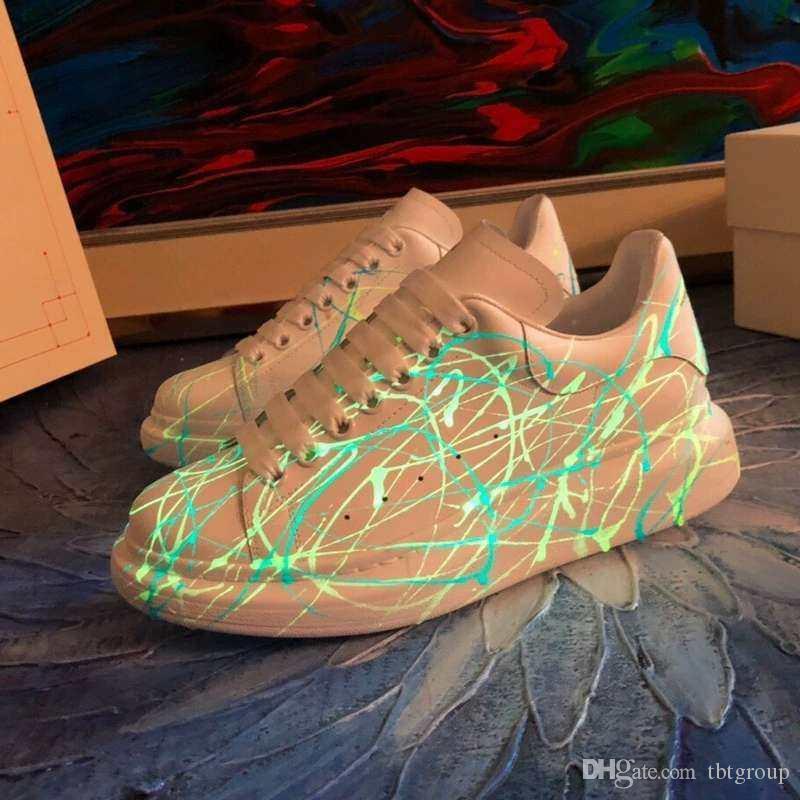 Batir los zapatos corrientes de los formadores brillan en la oscuridad de gran tamaño zapatilla de deporte de los zapatos de plataforma zapatos de boda para mujer para hombre plana fiesta informal