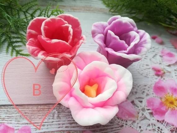 Tulipe fleur de savon Moules faits à la main des moules en silicone décoration fleur d'artisanat bougie chocolat moule en silicone fondant HC0017 T200523