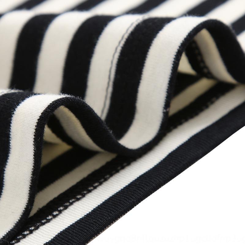 qQELv de base 19 del resorte y camiseta Corea del estilo sencillo a rayas de manga corta nueva camiseta del verano de las mujeres de algodón