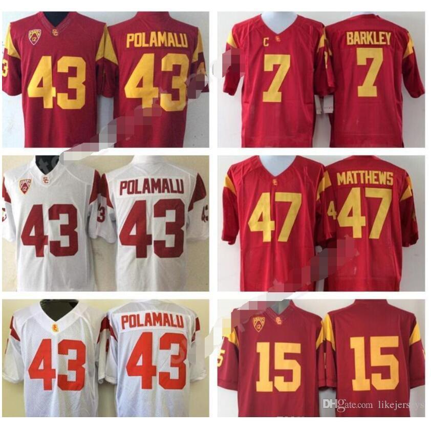 USC Trojans Jersey 7 Matt Barkley 15 Michael Bowman 43 Troy Polamalu 47 Clay Matthews NCAA Football Jerseys College PAC 12 Red White like