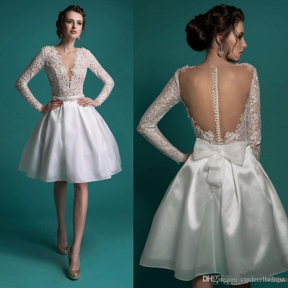 2020 nuovi abiti da sposa corti sexy manica lunga senza schienale una linea in rilievo con scollo a V scollo profondo al ginocchio lunghezza organza pizzo abiti da sposa
