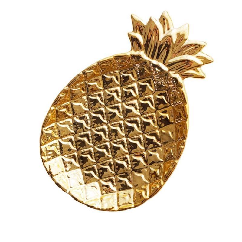 Üst-Ananas Seramik Depolama Tepsi Ananas Takı Palet Gıda Palet Kuru Meyve Tabağı Ev Dekorasyon Plate Altın