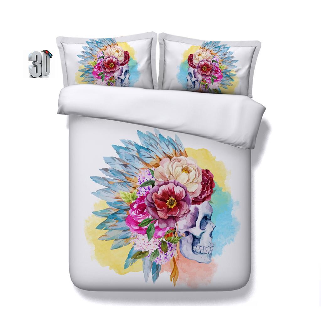 150x200CM 3PCS 3D Watercolor skull Print Duvet Cover Set Bedding with pillowcase, Microfiber Quilt Cover, Zipper Closure, NO Comforter