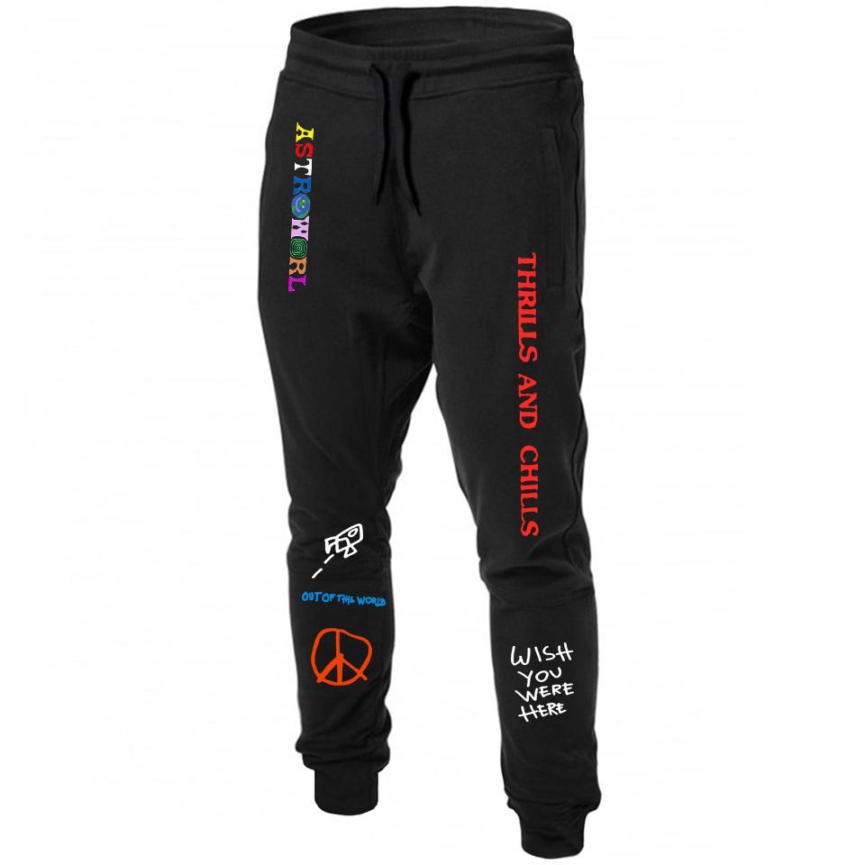 Скотт AstroWorld Sweatpants Письмо печати тренировочные брюки Мода мужская майка бегуны Брюки повседневные брюки