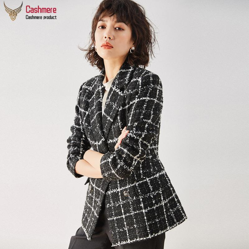 Women's jacket plaid jacket small fragrant blazer female 2020 new autumn self-cultivation black double-breasted