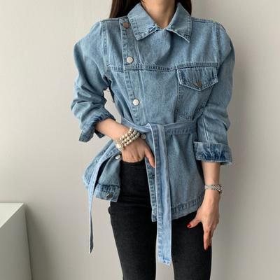 Корейский Стиль Brand New Classic Джинсовая куртки Женский Нерегулярные Топы Пояс Lace тонкая Женщина пальто с длинным рукавом мода Streetwear
