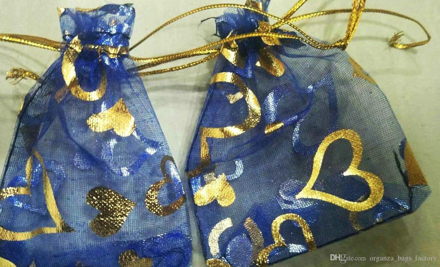 Quente! 100 pcs Royal Blue Heart Organza Drawstring Jóias Embalagem de Embalagem de Casamento Sacos de Presente 7x9cm / 9x12cm / 13x18cm