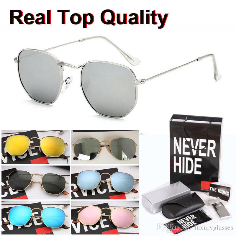 Gafas de sol de la marca de personalidad hombres de las mujeres de calidad superior lente de cristal hexagonal marco de metal con la caja original, paquetes, accesorios, todo!