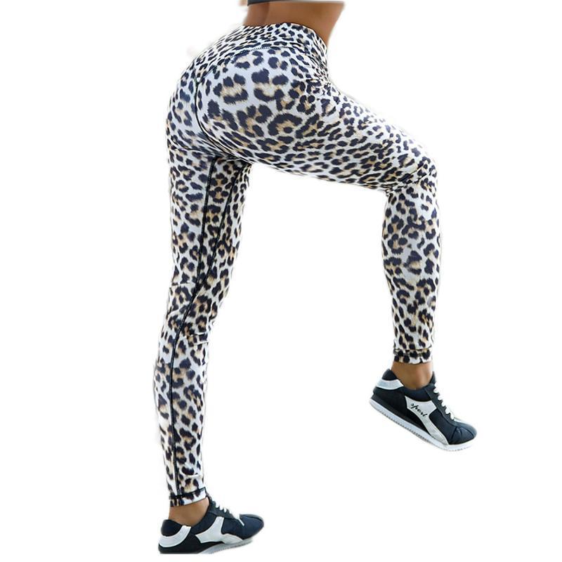 New Style Sexy Leopard Print High Waist Women Yoga Leggings Stretch Yoga Pants Running Sport Leggings Peach Hip Fitness