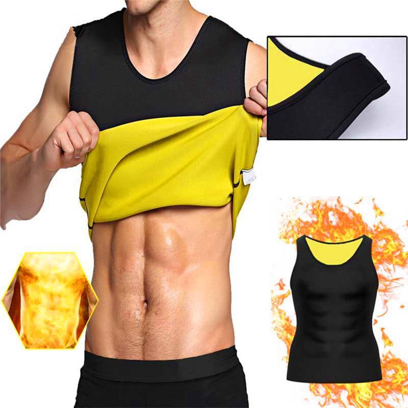 UK Mens Neoprene Sauna Vest Sweat Shirt Fat Body Shaper Chest Corset Training