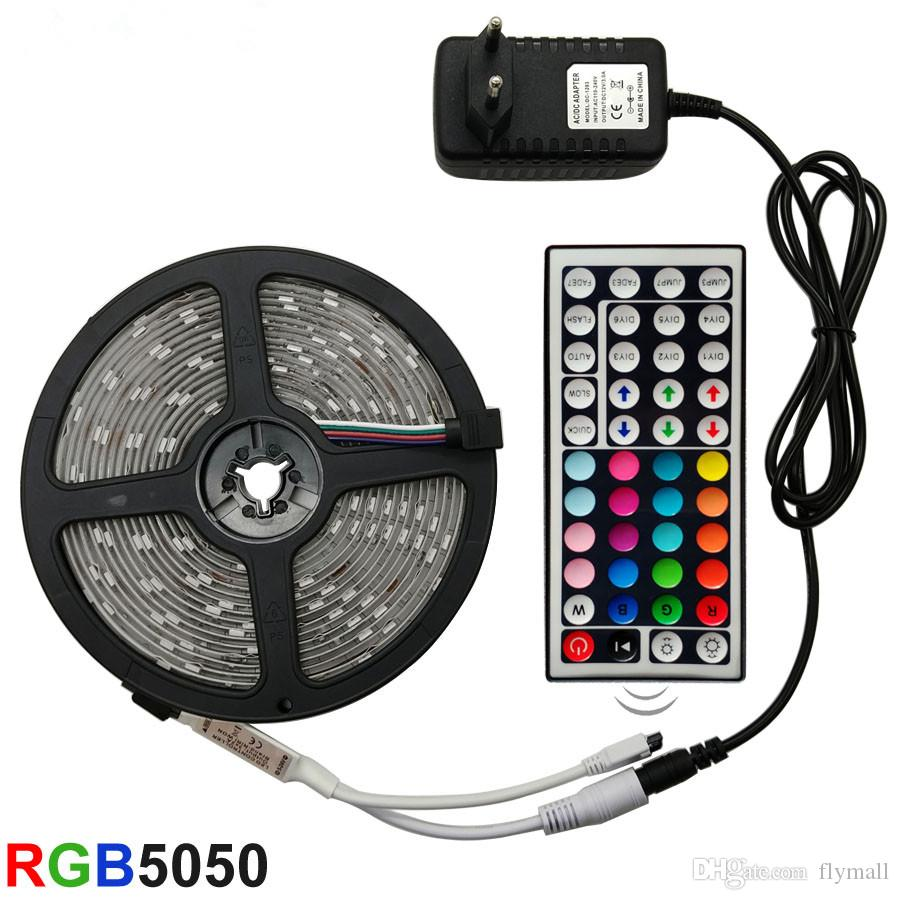 5M 10M 15M مجموعة كاملة LED قطاع الخفيفة RGB LED 5050 SMD 2835 مرنة الشريط RGB الشريط 5M 10M 15M الشريط الصمام الثنائي DC 12V + تحكم عن بعد + محول