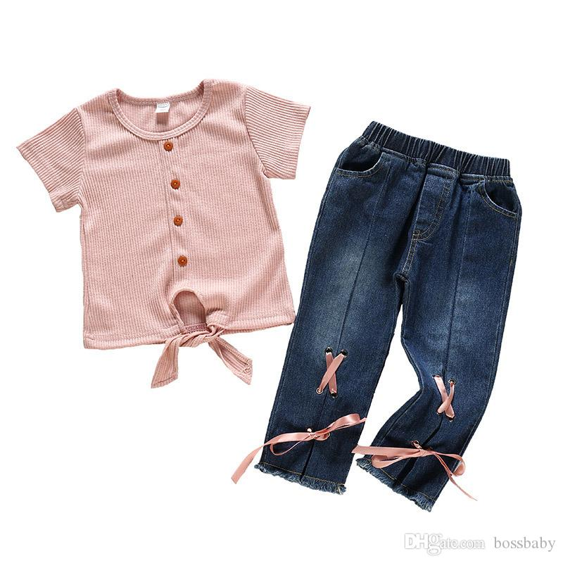 Kids Girls Denim Suit Baby Solid Button Tops Todddler Lace T-shirt Kids Clothes Girls Pocket Jeans Tassles Pants Casual Clothes 06