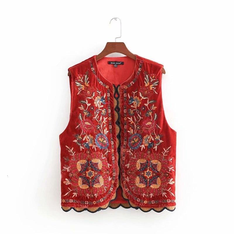 2018 femmes broderie de fleurs de paillettes Vintage gilet dames veste rétro patchwork style national velours casual GILET CT154 LY191210
