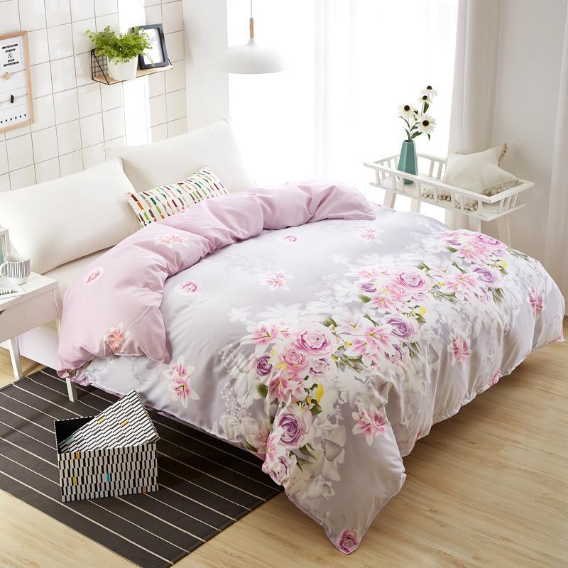 1 Stück Polyester / Baumwolle Bettbezug Fashion Purple Rose Bettbezug Tröster Taschen / Abdeckung Twin Voll Queen-Size-freies Verschiffen
