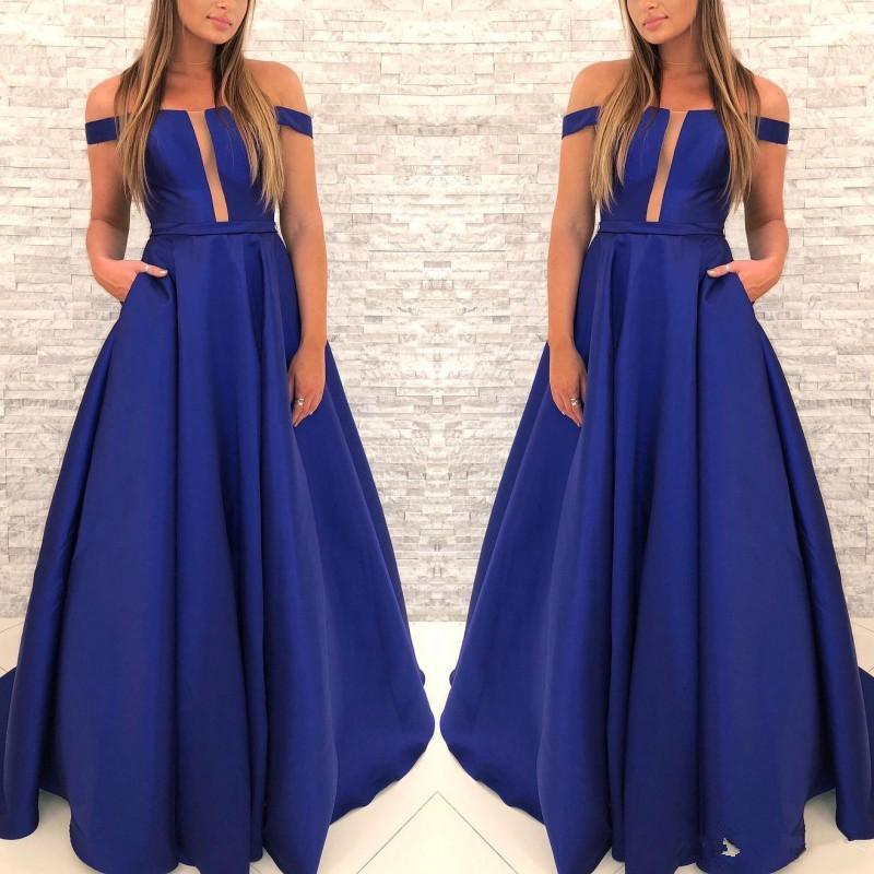 Toptan-Custom Made Kraliyet Blue A Hattı Gelinlik Cepler ile Omuz Saten Dantelli Abiye Giyim Kapalı