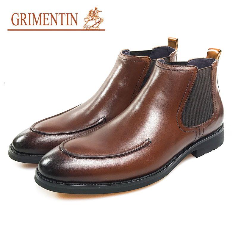 GRIMENTIN 2020 Newest Hot Sale Brand Men's Boots Genuine Leather Men Ankle Boots Fashion Designer Brown Formal Business Work Men's Shoes