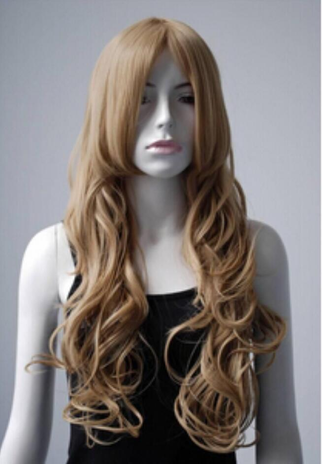 WIG free shipping Wavy Golden Blonde Yellow Long cosplay party wig