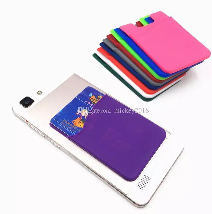 نحيف جدا ذاتية اللصق بطاقة الائتمان محفظة مجموعة حامل البطاقة الملونة السيليكون للهواتف الذكية ل فون X XS 7/8 سومسونغ S9 السفينة حرة