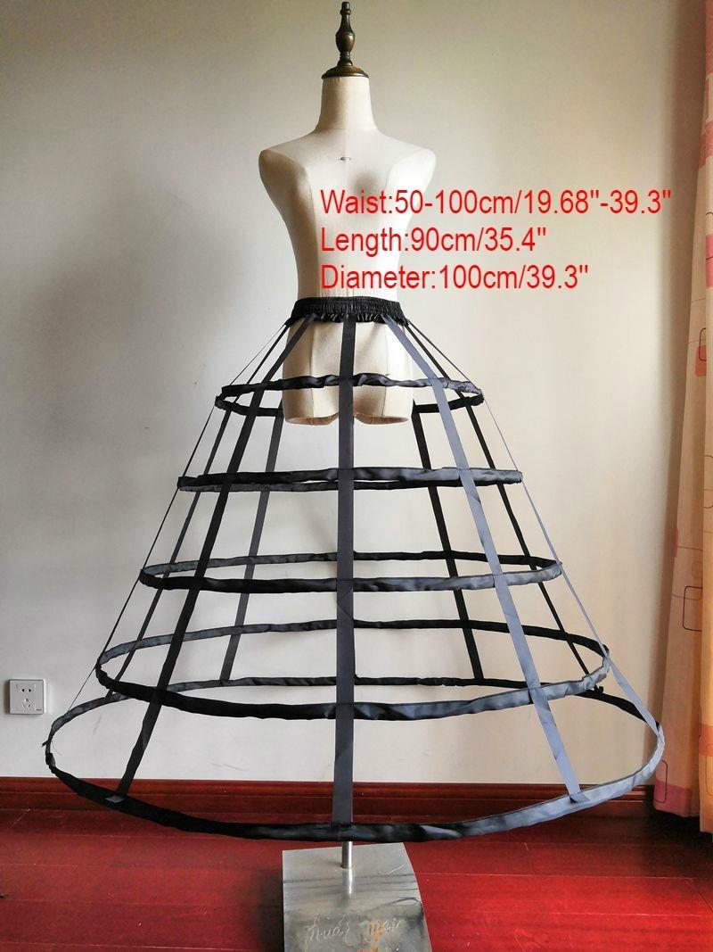 Женщины Gothic Lolita Birdcage 5 обруча Petticoat Underskirt Средневековый Викторианский Круг Fishbone Crinoline Pannier